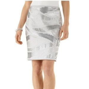 White House Black Market Grey Sequin Skirt